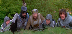 left to right; Sir Robin (Eric Idle), Sir Bedevere (Terry Jones), King Arthur (Graham Chapman), Sir Launcelot (John Cleese) and Sir Gallahad (Micheal Palin)