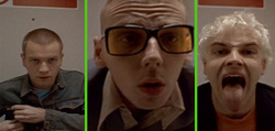 Ewan McGregor as Renton, Ewen Bremmer as Spud and Jonny Lee Miller as Sick Boy in Trainspotting